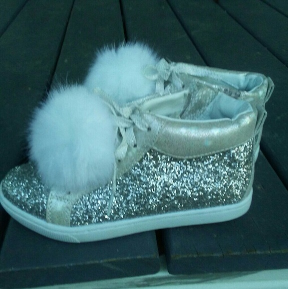 8a672fd02f5a Justice Shoes | Girls Holo Silver Glitter Pom Pom Sneakers | Poshmark
